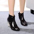 【レインブーツ/6.5cmヒール】美脚/脚長ショートブーツ長靴雨靴RAINBOOTS水玉sliponアウトレット価格送料無料