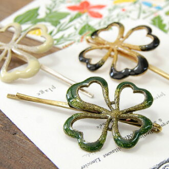 Our store longtime seller & superman mind popular figure clover hairpin! A cute hairpin with CLOVER of the four leaves which caused good luck as a motif! Clover hair accessories ◆ opening clover hairpin of four leaves with lam of the symbol glitter o