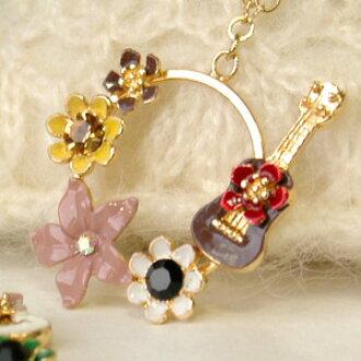 Breeze a melody I heard! Sweet rock necklace ◆ Fleur guitar pendant