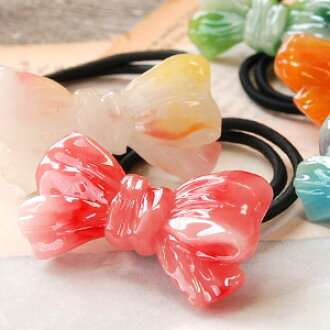 Such as the candy is fascinating, arrange hair cutely boom! Hair accessories ◆ ribbon candy pony that the motif linked to クシュッ was devised with a marble design