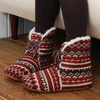Plenty of fleece room shoes! Warm ankle-length boots on slippers folklore style of knitted material with plenty of Boa constrictor wrapped inside a strong ally of the cold season ♪ ◆ forestmokomoko room shoe