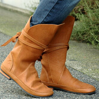 --Middle Buffalo leather wrapped sea eye Elle string sticking with boots! Swaying strap design with luxurious hand-made boots, cute ◆ C.I.L.: ストリングレザーバックリボン boots