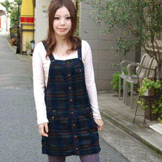 Jumper ◆ w closet which trend-style can enjoy without the British tartan check salopette of the feminine さを deep hue to leave choosing appearance ♪ person wearing it than a double closet in casual clothes: Brush check corduroy salopette
