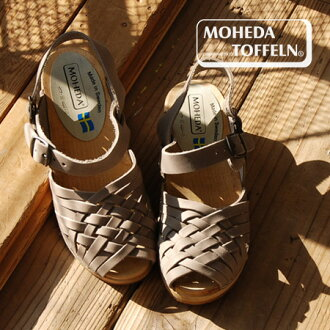 Size-adjustable belt. Sweden artisan handmade clogs! Denim leather clog Sandals ◆ MOHEDA TOFFELN ( モヘダトフェール ): Bax traps レザーメッシュウッドサボ sandal
