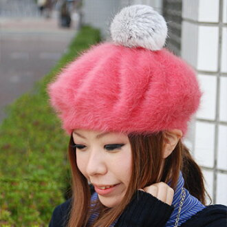 The Angolan fur beret that a feeling draws the best prettiness light like the rabbit! Rial fur excellent hat ◆ rich Angola fur beret of the top which becomes the simple beret because I can remove it with a pin plonk