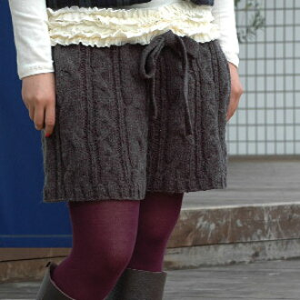 "Is the must-have item of coordinates than ♪ ""zoo tea"" which the cable knitting of a bit big line full of handmade feelings and the knit ribbon of the waist direct a lovely silhouette, and patronizes Gurley degree in fall and winter; knit short pants of t"