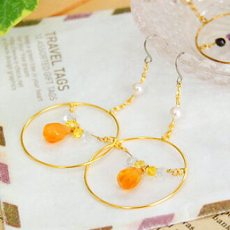 Hoop earrings dangle in the middle of delicate stone fruit spilling drops of gold ring's gleaming beads of tears cuts! Stones like carnelian and Renee quartz natural stone accessories ◆ parallel hoop earrings