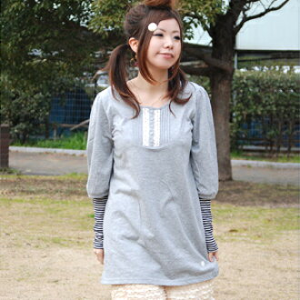 ◆ cotton race tuck half-length sleeves tunic recommended for the feeling that is a young girl in the natural tunic that the tender cotton material which he/she seems to carry a spring breeze to is kind to skin the delicate tuck which a race was put for f