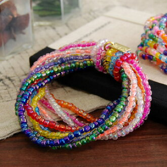 """Rainbow color magic Ka to try it! Colorful pop from popular brand """"jitter"""" appeared a volume bracelet beads rings 10pcs became a bunch! even in stretchy nylon string remove easy ◆ Jitta: mixed color Bead Bracelet"""