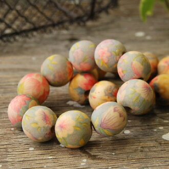 Hand painted floral design a romantic feeling wood Beads Bracelet ♪ accessories made of wood depicting the summer resort and a unique ambiance was little ◆ resort flower wood Bead Bracelet