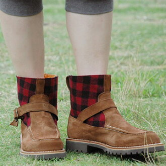 ● ● Suede belt x Plaid real school short boots! In Spain established brands riding boots expert craftsmen have carefully created hand-made shoes and spring boots ◆ Palanco ( palanco ): バッファローチェックショートブーツ
