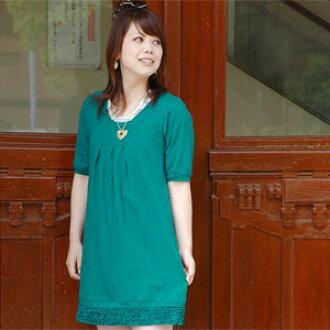 Back to look me ♪ decorated with big natural yet girly back Ribbon and hem ruffle mini dress ◆ natuRAL vintage ( nachuralvintege ): バックリボントリプルフリルスラブワン piece