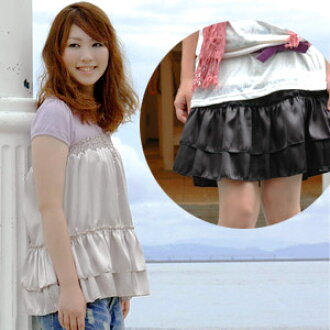 Rich petticoat skirt ◆ MIMIMEMETE (ミミメメット) where features a design and a product made in to be able to mix-and-match in atmosphere ♪ skirt that a combination of good-quality satin and shirring is an adult girly and 2WAY of the raise of wages top Japan of