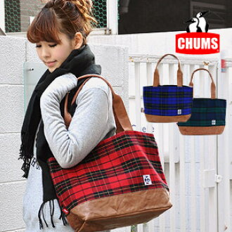 The CHUMS unisex bag that the checked pattern X real leather which is preppy is fresh! / shawl / shoulder cliff / rial leather / cowhide / man and woman combined use /Tote Bag Tartan Check Leather M ◆ CHUMS (Kiamusze) most suitable for Mothers bag and at