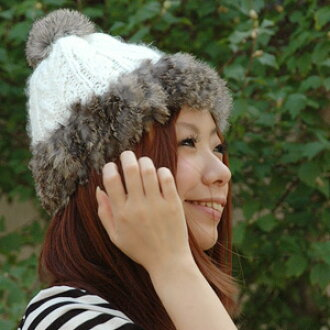 With a soft and fluffy rabbit fur knit cap cutely! Real fur of 6cm in diameter sticks plonk, and the ニットワッチ ◆ rabbit fur bonbon knit of the prettiness perfect score caps the knit hat by a plain knit X fur color design