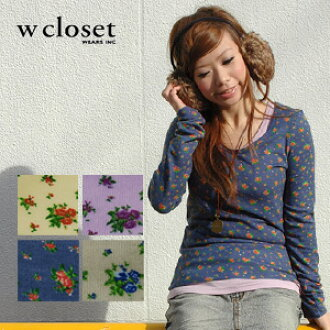The convenient natural girly floret pattern cut-and-sew which becomes both Maine of coordinates and the spice! Long sleeves long length knit so tunic ◆ w closet (double closet) that a feeling of fluffy cloth enhances a gentle atmosphere: Love Lee bouquet