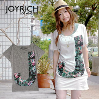"""● ● big cute impact Tee 'J' in large floral design classic and familiar JOYRICH's """"No1"""" printed with a beautiful color! Like a girl with Dolman sleeves feel too GOOD ◆ JOY RICH ( Mickey Mouse No1 ): アンティークフラワー J ドルマンスリーブチュニック T shirt"""