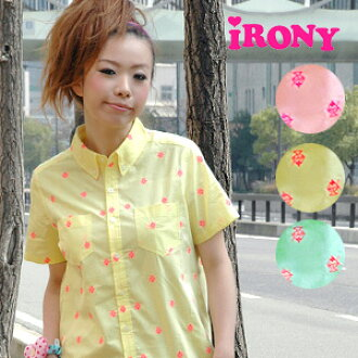 cute unique irony! Gary short sleeve shirt embroidered with pink Parfait ♪ Milky pastel シャンブレーボタン down shirt parfait B.D shirts ◆ irony (irony irony): パフェステッチシャンブレー t-shirt