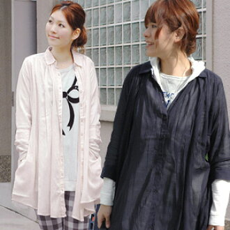 7-Enjoy the feeling of sheer natural sleeve flannel! In nature you can enjoy adult cod will sand and black tunic-length A ラインロング blouse ◆ airy natural gathers seven minutes sleeve shirt dress