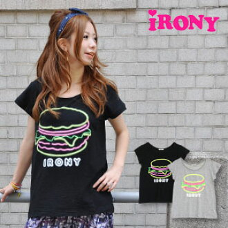 Nanoco-らしさが short sleeves Tee/ girly / cute / American /amburger tee ◆ irony (irony) on in a feeling of すぎるっ ♪ silhouette and cloth for rising neon collar cute a hamburger clogged up: Neon hamburger logo T-shirt