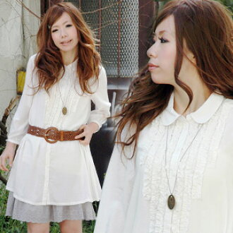 The classical long shot blouse which is excited until a feeling with a dancing frill! Obtain beauty, the cuteness which seems to be a girl in a sleeve white long shot shirt tunic for simple seven minutes of ♪ design which devoted itself to which is beaut