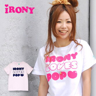 100 logo short sleeves Tee ♪ /love pop tee/made in USA/ Lady's / cotton %◆ irony (irony) of good flock print of the ... colon which pretty words are not found in and a style and the color development that I did: IRONY LOVES POP T-shirt