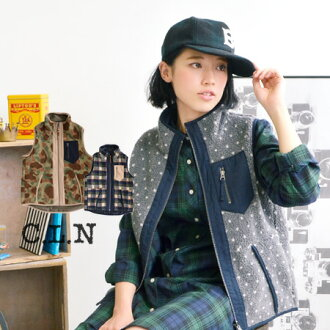 Fluffy boa & ノースリーブアウター that can be worn in front and back of the nylon wind murmuring! 2WAY there /CLN can choose from a rich traditional design presence large polka dot / Plaid Ortega patterns ◆ C.L.N( シーエルエヌ ): ガールズリバーシブルボア best