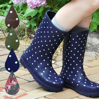 On the contrary, the pullover boots that is a girly of the half length rubber boots ♪ dot handle of & floral design which is pretty so that a rainy day becomes long in coming! The affordable price boots ◆ みずたま & flower middle length rain boots th