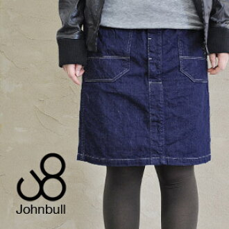 The knee-length straight denim skirt which an adult enjoys! / light ounce /WORK MIDI/ vintage style / wash processing / Lady's / big pocket /S size /M size / button fried food specifications ◆ Johnbull (John Bull): Work denim midiskirt [AK604]