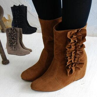 甘辛, a legendary man with long legs, a beautiful leg fake suede leather half boot with an approximately 5cm secret heel! The wedge sole in heel shoes which is recommended for shoes with high insteps relaxedly wide by width! / middle length / wedge-heel sh