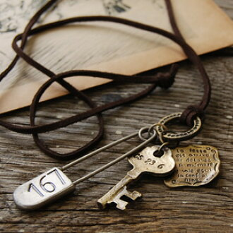 Long attended four large antique motif necklace! So starts the story, and inscribed with letters and numbers on each. / key/key plate safety pins / rings / this strap suede / suede leather lace & leather cord and accessories ◆ pins & key strap lo