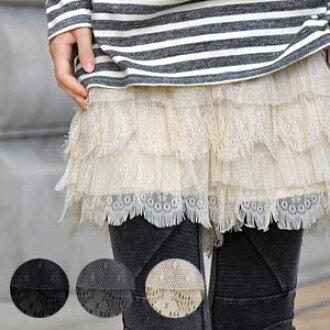 Wear cool dot pattern turleys & Pom Pom lace ティアードフリルショーパン! / Multi material MIX / petticoats / pettanko チパンツ / inner / tiered lace skirts wind cutoff race/bottoms / thin/tasty/fringe ◆ ミックスフリンジレースティアード shorts