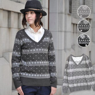 """It is feel preeminence ◎ / Nordic events flavor / natural / diagram handle of / long sleeves / compact ◆ みずたま diamond jacquard V neck knitwear with the jacquard knitting V neck sweater ♪ cotton blend knit which """"a diamond pattern"""" of the folklo"""