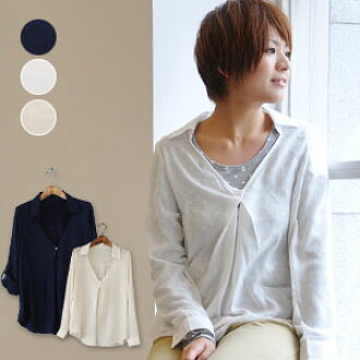 "The shirt tunic ♪ plain fabric ◆ mist flower race one-button pullover shirt tunic which ""can play"" of arrangement long sleeves blouse ♪ adult who can enjoy two ways of designs in the button-type tuck of the ◎ front that an inside race utilized"