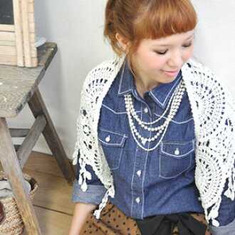Cute flower lace, blue denim shirt! ライトアウター white stitch also gets dumb ◎ / small floral stitch / Cape / bleach and Indigo and cotton lace / shell wind button / process / ladies / long sleeve ◆ Western denim shirt