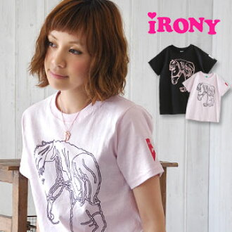 "The graphic which is the origin of irony appears as the ""Classics"" series! Revival print /love pony tee/ horse / hose / short sleeves cut-and-sew ◆ irony (irony) of the child & pony of a graphic-like woman drawn with the neon color that was"