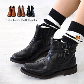The real leather ankle boots / medallion / country boots / Chelsea boot / rubber sole ◆ side Gore wing tip leather bootie which ◎ full-scale wing tip is classical in the which side Gore boots are weak in in not seeing rubber, and is refined