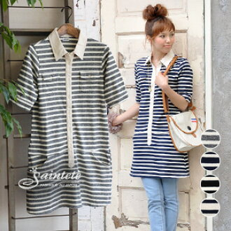 Safari shirt style is a little different from the military border print tunic dress! Women seems to be somewhat slender slim silhouette / polo shirt style / 5 minutes / sleeves / sleeve Japan made and spring dress ◆ Saintete ( サンテテ ): 16 / = tenjiku ボーダー