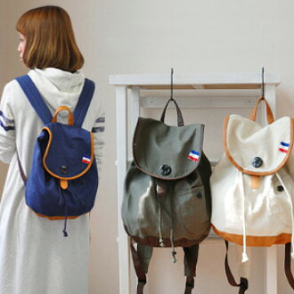 Icalibotan and Tricolore tag! Small backpack for France to assimilate ♪ daypack/bags of rustic, natural-canvas style material such as linen ◆ French marine cotton luck sack
