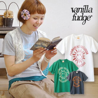 Charming vacation mood solar illustrations printed Short Sleeve Tee! ladies cut & sew's compact size girls that can be worn just ◆ vanilla fudge (vanilla fudge where):PERMANENT VACATION T shirt