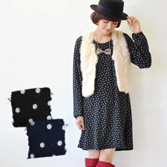 Sold the popular key crochet without a lace collar lace collar mizutama one-piece simple design also appeared! Without tingling, clean fun / knit a Chin line / nit katsortunic long sleeves puff sleeve polka / polka dot ◆ dotnit-sowan piece
