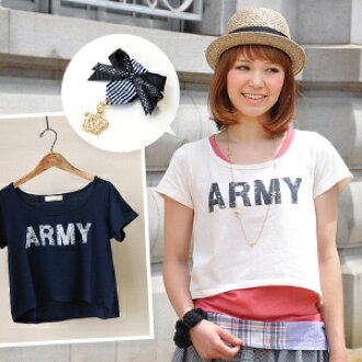 "The berry shortstop length that is distinguished for the affinity with the one piece! The short-sleeved logo cut-and-sew ♪ crown charm of the vintage-like ""ARMY"" print which was able to graze gets on; is the ARMY heme arch shortstop T-shirt wit"