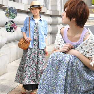 Made in India cotton light, cool small floral Maxi dress! Back shirring rubber for secure fit! Perfect for spring and summer attire コットンロングワン piece/sleeveless ◆ エイダフラワーマキシ 1 piece tank