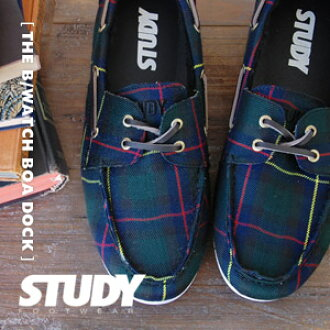 "As for the Black Watch pattern deck shoes ♪ real leather Shoo race of ""STUDY"" ◎ / low-frequency cut / sneakers / traditional fashion / Lady's / checked pattern /THE PLAID DUCK/ boa /fs3gm ◆ STUDY (study): THE BOA DOCK [BLACK WATCH]"