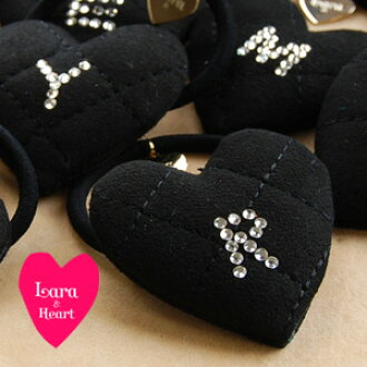 Even as for the kilt suede cloth-like LARA & heart size attention hair accessories appearance rhinestone alphabet hair pony fashion ◆ Lara & Heart (LARA and heart): Fake suede quilting initial heart hair rubber [black]
