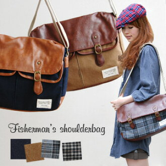 Four kinds of development available of warmth overflow れるほっこり checked pattern and the melton plain fabric. A flap is different fabrics MIX messenger bag of 合皮! The fake leather back ◎ / unisex / bag / bag ◆ autumn fishermen square shoulder bag whom the f
