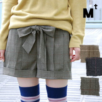 "The glen plaid show bread of this season attention ""pleats design"" required! / mini-length / shortstop length /OJI/ Lady's ◆ Mt (M tea) as for the buttocks circumference cover effect with ◎ / wool blend / pocket: Glen check tuck pleats short pa"