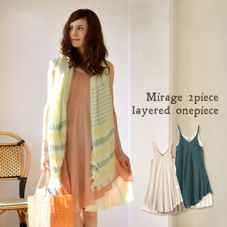 Color and length, etc., enjoy layered was calculated, 2 piece set with light washer Boyle material knee-length dress. Each unit also! / knee / タンクトップワン pieces / spring dress ◆ Mirage 2 ピースレイヤードノースリーブワンピース
