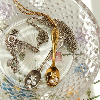 Romantic spoon. Cute antique pendant star necklace ladies with a miniature spoon scooped little star and pearl beads, Swarovski ◆ gargle (gargle): romanticbevirspoonnecklace