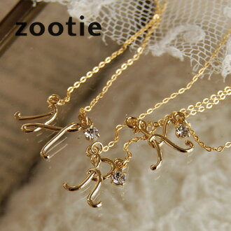 Slender and delicate letters, such as depicting the fountain pen in necklace! The gleaming rhinestone! / accessories / pendant / accessories / jewelry / Gold /A/H / K/M/N/R/S/Y ◆ Zootie ( ズーティー ): レタードイニシャルネックレス